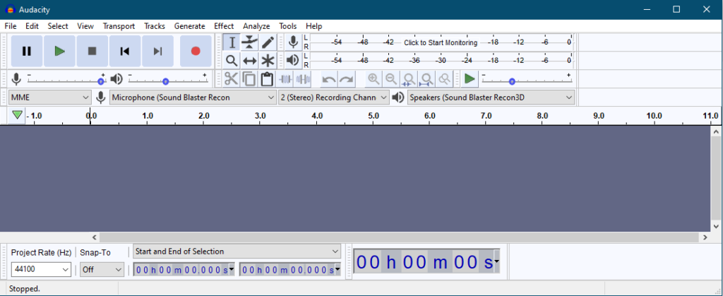 Opening Screen of Audacity